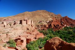Ait Ibriren village, Dades Gorges. Morocco. Dadès Gorges is a gorge of the Dadès River and lies between the Atlas Mountains and Anti-Atlas mountain range, in Stock Photo