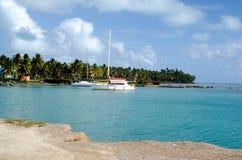 Aitutaki港在Aitutaki盐水湖库克群岛 库存照片