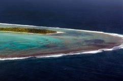 Aitutaki盐水湖库克群岛鸟瞰图  免版税图库摄影