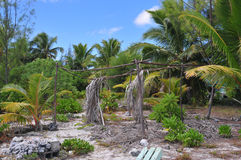 Aitutaki, хата пляжа Острова Кука старая Стоковые Изображения