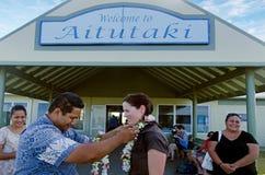Aitutaki Airport in Aitutaki Lagoon Cook Islands. AITUTAKI - SEP 17:Cook Islanders welcome tourists in Aitutaki airport on Sep 17 2013.The airport was originally Royalty Free Stock Image