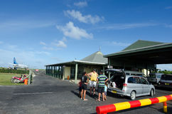 Aitutaki Airport in Aitutaki Lagoon Cook Islands. AITUTAKI - SEP 17:Aitutaki airport on Sep 17 2013.The airport was originally constructed by the United States Royalty Free Stock Photos