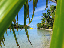 Aitutaki beach. A boat on the remote island of Aitutaki in the Cook Islands, South Pacific Royalty Free Stock Images