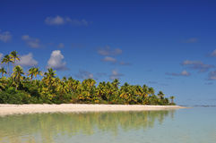 Aitutaki Beach, Sand and Palm Trees Royalty Free Stock Photography