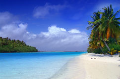 Aitutaki Dream. The lagoon meets the sea Royalty Free Stock Images