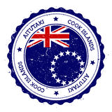 Aitutaki flag badge. Vintage travel stamp with circular text, stars and island flag inside it. Vector illustration Royalty Free Stock Photos