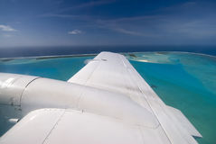 Aitutaki lagoon from small aircraft, Cook Islands Royalty Free Stock Photos