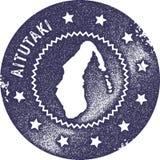 Aitutaki mapy rocznika znaczek Obrazy Royalty Free