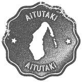 Aitutaki mapy rocznika znaczek Zdjęcia Stock