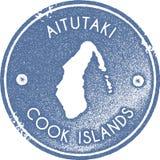 Aitutaki mapy rocznika znaczek royalty ilustracja