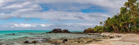 Aitutaki Polynesia Cook Island tropical paradise view. Aitutaki Polynesia Cook Islands tropical paradise view panorama landscape Royalty Free Stock Photos