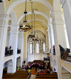 Aiud-Kircheninnenraum stockbild