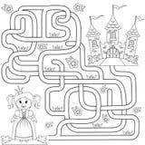 Aiuti il piccolo percorso sveglio del ritrovamento di principessa per fortificare labirinto Gioco del labirinto per i bambini illustrazione di stock