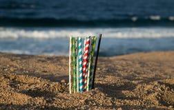 Aiuti la cassaforte l'oceano - paglie di carta di eco immagine stock