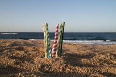Aiuti la cassaforte l'oceano - paglie di carta di eco fotografia stock