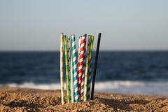 Aiuti la cassaforte l'oceano - paglie di carta di eco fotografia stock libera da diritti