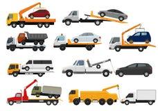 Aiuto di trasporto su autocarro del towage del trasporto del veicolo dell'automobile di rimorchio di vettore del camion di rimorc illustrazione di stock