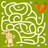 Aiuto poco percorso del ritrovamento del coniglietto alla carota labirinto Gioco del labirinto per i bambini illustrazione di stock