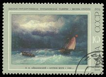 Aivazovsky, шторм на море Стоковая Фотография