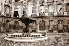 Aix-en-provence #48. Courtyard and fountain in Aix-en-provence, France.  Sepia tone Royalty Free Stock Images
