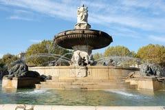 Aix-en-Provence, França - 18 de outubro de 2017: a fonte famosa fotografia de stock royalty free