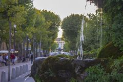 Aix-en-Provence, France. The Cours Mirabeau, a wide thoroughfare in Aix-en-Provence, France Stock Photos