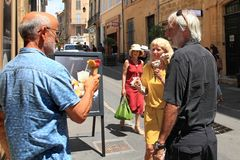 Aix-en-Provence, FRANCE - JULY 1, 2014. Happy middle-aged peopl Royalty Free Stock Photo