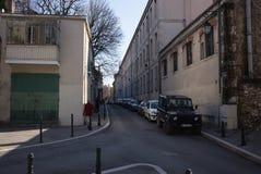 Aix-en-Provence Street Scene. Aix-en-Provence Statue street scene apartments Royalty Free Stock Images