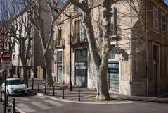 Aix-en-Provence Street Scene. Aix-en-Provence Statue street scene apartments Stock Image