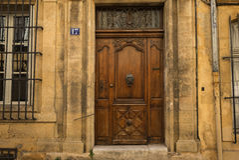 Aix-en-Provence Street Scene. Aix-en-Provence Statue street scene apartments Stock Photography