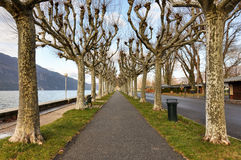 Aix-Les-Bains boardwalk at lake Bourget, Savoie, France.  royalty free stock photography