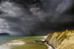 Aixerrota młyn w Getxo z burzowymi chmurami Zdjęcie Stock