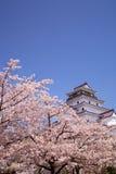Aizuwakamatsu Schloss und Kirschblüte Lizenzfreie Stockfotos