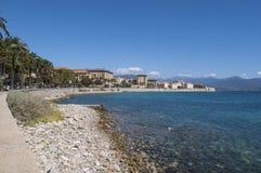 Ajácio, praia, Córsega, Corse du Sul, Córsega do sul, França, Europa Imagens de Stock