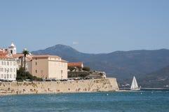 Ajácio, praia, Córsega, Corse du Sul, Córsega do sul, França, Europa Imagens de Stock Royalty Free