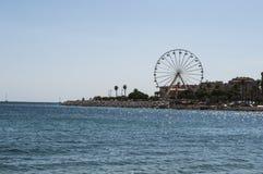 Ajácio, praia, roda de ferris, Córsega, Corse du Sul, Córsega do sul, França, Europa Imagem de Stock Royalty Free