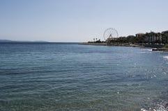 Ajácio, praia, roda de ferris, Córsega, Corse du Sul, Córsega do sul, França, Europa Fotos de Stock Royalty Free