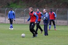 AJ kamp van het de opleidingsvoetbal van Auxerre Stock Afbeeldingen