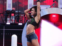 AJ Lee stands on turnbuckle holding hair as she smiles and celeb Royalty Free Stock Image