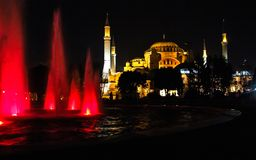 Aya Sofia in Istanbul. Photographed through a fountain royalty free stock photos