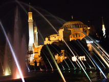 Aya Sofia in Istanbul. Photographed through a fountain stock photo