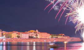 The Ajaccio bay at night during firework, Corsica island, France Royalty Free Stock Image