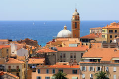 Ajaccio - the birthplace of Napoleon. The view over the mediterranean town of Ajaccio, Corsica wih its orange roofs and a bell tower,where Napoleon was born and Royalty Free Stock Image