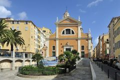 Ajaccio Cathedral. The historical cathedral in the centre of Ajaccio - Corsica Stock Photos