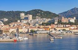 Ajaccio, coastal cityscape, harbor with marina Royalty Free Stock Images