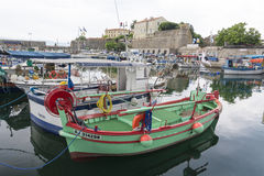 Ajaccio Harbour. Fishing boats and buildings Royalty Free Stock Images