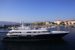 Ajaccio harbour luxury yacht Stock Images