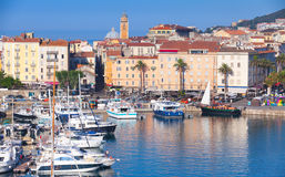 Ajaccio port cityscape with moored yachts Royalty Free Stock Photography