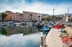 Ajaccio port, Corsica. Small fishing boats Royalty Free Stock Images