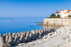 Ajaccio seaside, citadel with lighthouse tower, Corsica Royalty Free Stock Images